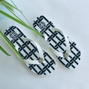 TORY BURCH SIZE 7 FLORAL PRINTED THIN FLIP-FLOP